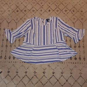 Catherines Blue and White Striped Bell Blouse